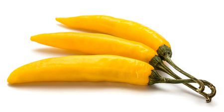 Three yellow Chili pepper isolated on white background  Stock Photo