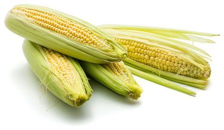Group of four sweet corn isolated on white background