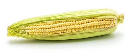 Ear of fresh sweet corn isolated on white background  Stock Photo