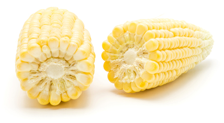 Two halves of sweet corn isolated on white background