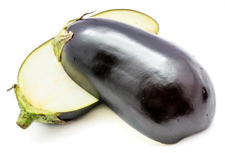 Two halves eggplant (aubergine), longitudinal section, isolated on white background  Stock Photo