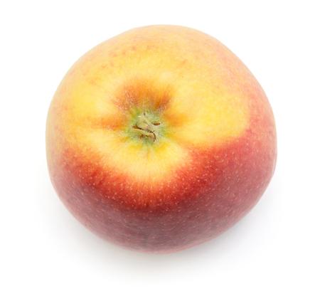 ホワイト バック グラウンド トップ ビューに分離された 1 つのリンゴ (Evelina 品種) 写真素材
