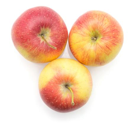 白い背景の上のビューに隔離された3つのリンゴ(エベリーナ品種)