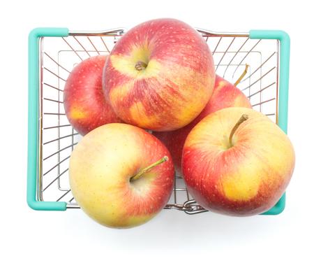 買い物かごにりんご (Evelina 品種) 平面図白地赤黄色の分離