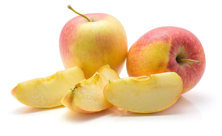 Three apple slices (Evelina variety) and two whole red yellow isolated on white background  Stock Photo