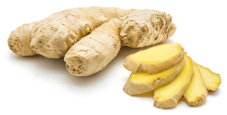One whole and sliced ginger rhizome folded ladderlike isolated on white background Banque d'images