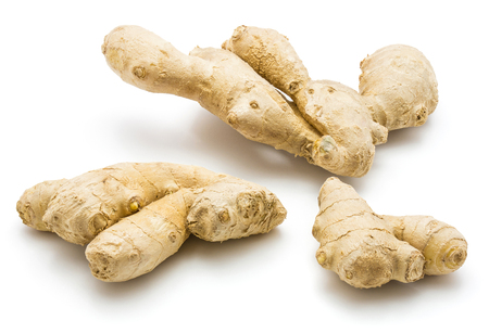 Three ginger rhizome isolated on white background Banque d'images - 92664736