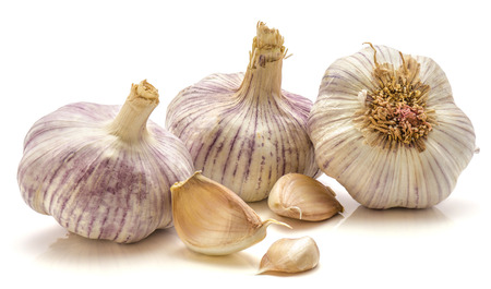 Garlic isolated on white background three bulbs and cloves  Stock Photo