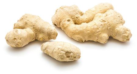 Ginger rhizome isolated on white background three roots