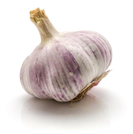 One whole garlic bulb isolated on white background  Stock Photo
