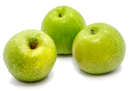 Group of three whole green apples Granny Smith isolated on white background   Stock Photo