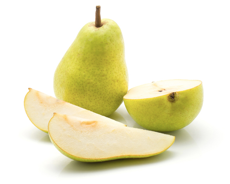 Green pears stack isolated on white background one whole one half two slices  Stock Photo