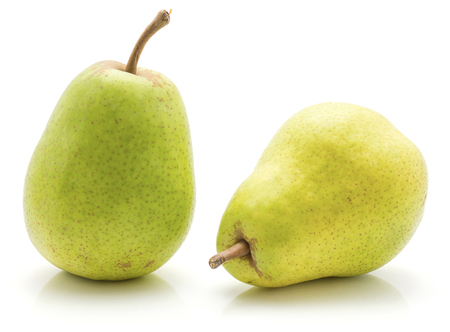 Green pears isolated on white background two whole  Stock Photo