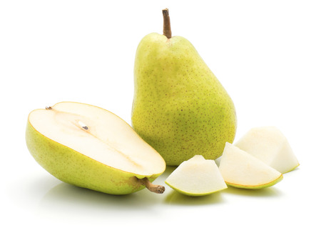 Sliced green pear isolated on white background one whole one half and three pieces