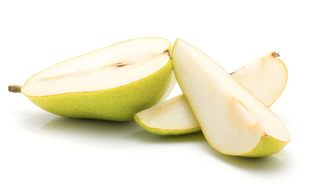 Sliced green pear isolated on white background one half and two slices