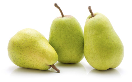 Green pears isolated on white background three set 스톡 콘텐츠
