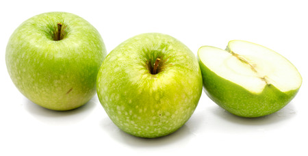 Granny Smith two apples, one half, isolated on white background