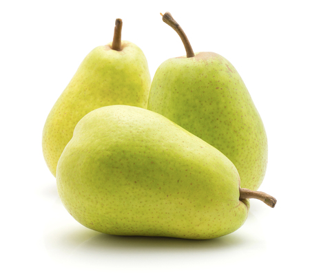 Three green pears isolated on white background