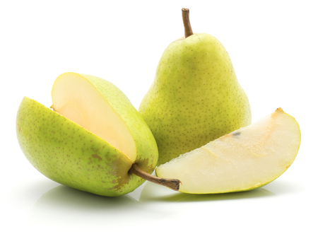 Green pears isolated on white background two whole one cut open and a slice  Stock Photo