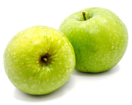Two whole green apples Granny Smith isolated on white background