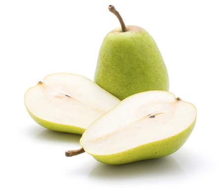 Green pears isolated on white background one whole two sliced halves cross section  Stock Photo
