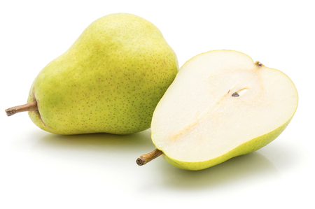 Green pear isolated on white background one whole one cut in half