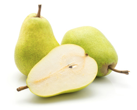 Green pears isolated on white background two whole one cross section half Stock Photo