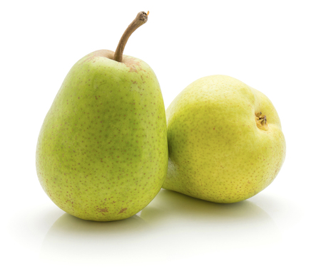 Green pears isolated on white background pair of whole  Stock Photo