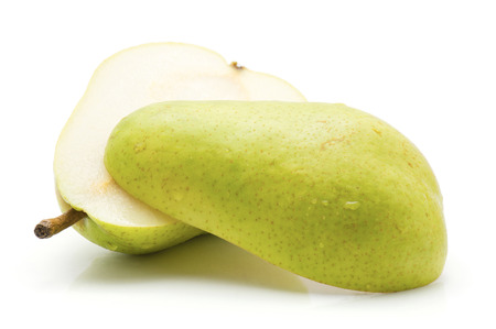 Sliced green pear isolated on white background two halves