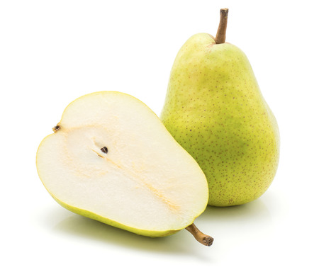 Green pear isolated on white background one whole one cross section half  Stock Photo