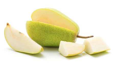Open green pear with one slice and two pieces isolated on white background