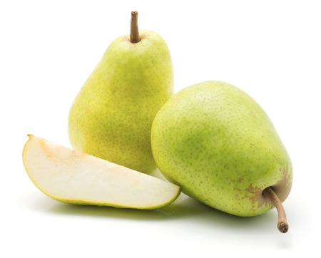 Two green pears and one slice isolated on white background  Stock Photo