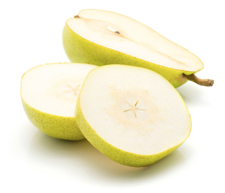 Sliced green pear isolated on white background two circles and one cross section half