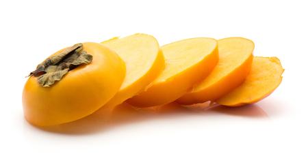 Sliced persimmon Kaki isolated on white background