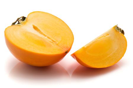 Sliced persimmon Kaki isolated on white background one half one slice quarter