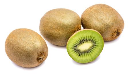 Sliced kiwi fruit (Chinese gooseberry), two whole and two halves, isolated on white background  Stock Photo