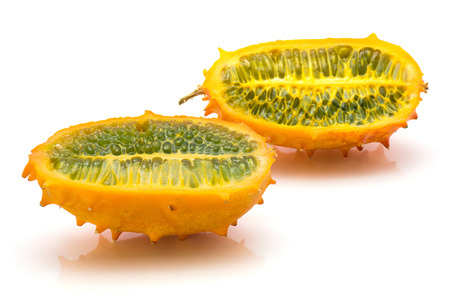 Sliced kiwano isolated on white background two halves cross section