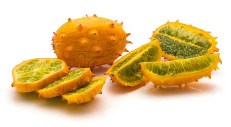 Sliced kiwano isolated on white background one whole one half two quarters three slices