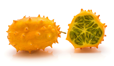 Kiwano isolated on white background one whole one cut in half