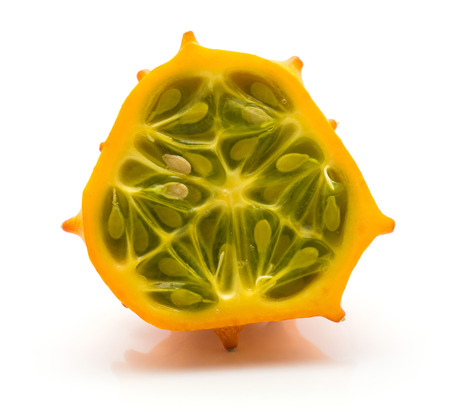 Kiwano half isolated on white background one cross section