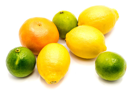 Group of orange tangerine, lime and one lemon isolated on white background