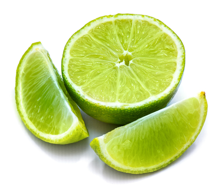 One lime half and two slices isolated on white background