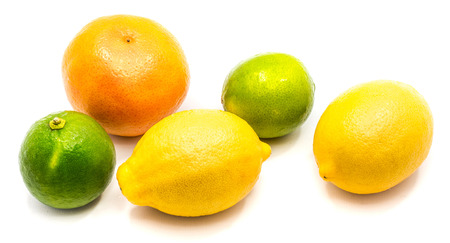 Group of orange tangerine, lime and one lemon isolated on white background