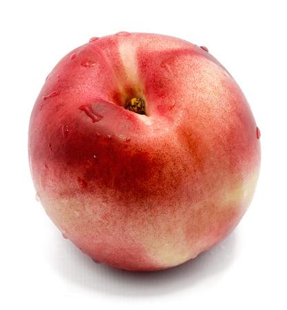 One whole white nectarine isolated on white background  Stock Photo