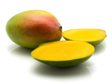 Mango isolated on white background one whole and two halves