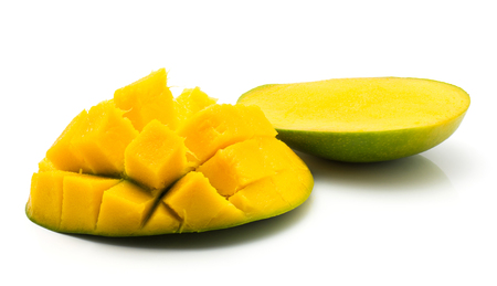 Sliced mango hedgehog shape isolated on white background two halves  Stock Photo