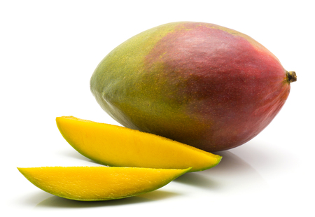 Mango isolated on white background one whole and two slices  Фото со стока
