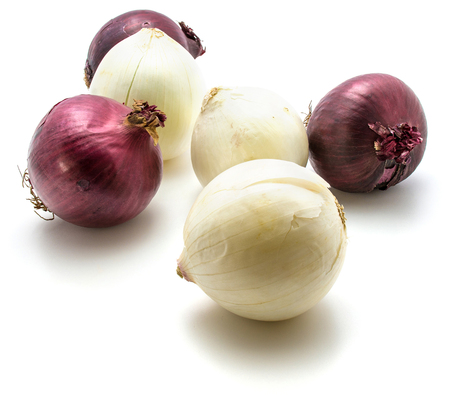 Red and white onion composition isolated on white background