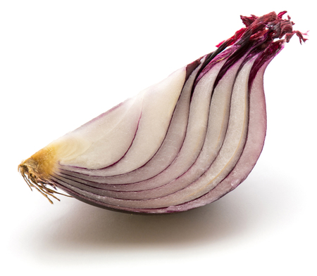 One quarter of red onion isolated on white background