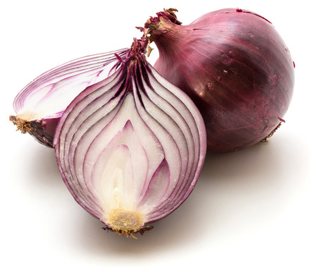 Red onion bulb, two halves, isolated on white background Stock Photo